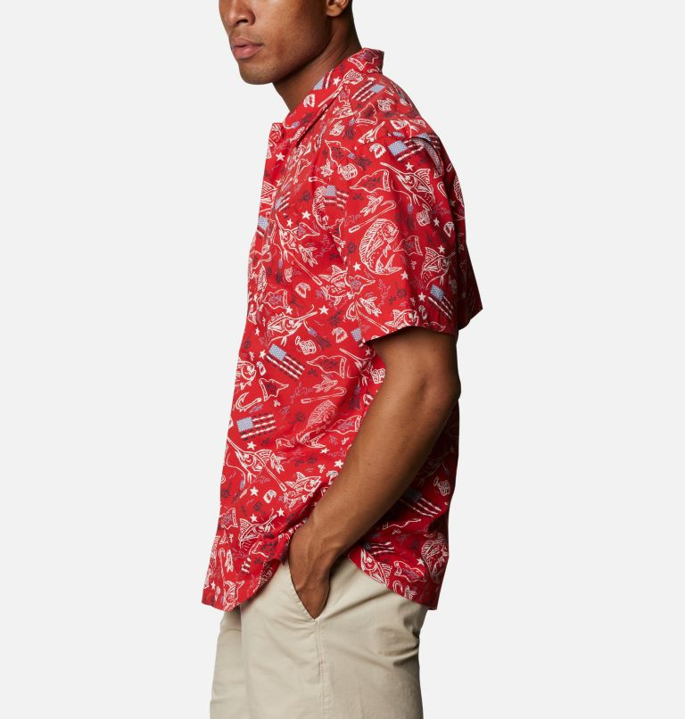 Trollers Best™ SS Shirt | 717 | 3X Men's PFG Trollers Best™ Short Sleeve Shirt – Big, Red Spark Americana Fishing Print, a1