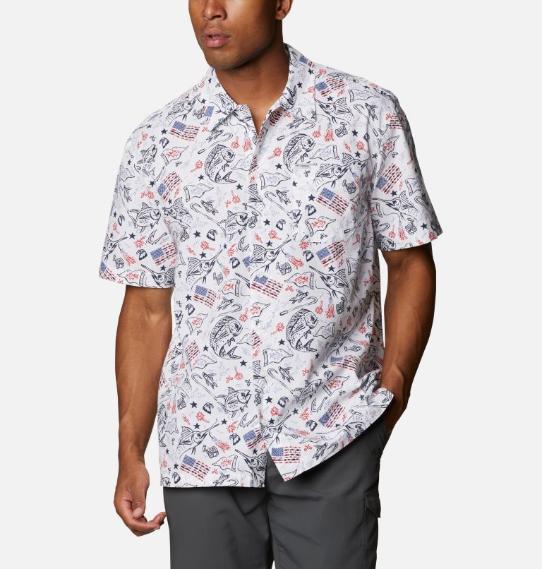 Trollers Best™ SS Shirt | 119 | 4XT Men's PFG Trollers Best™ Short Sleeve Shirt – Tall, White Americana Fishing Print, front