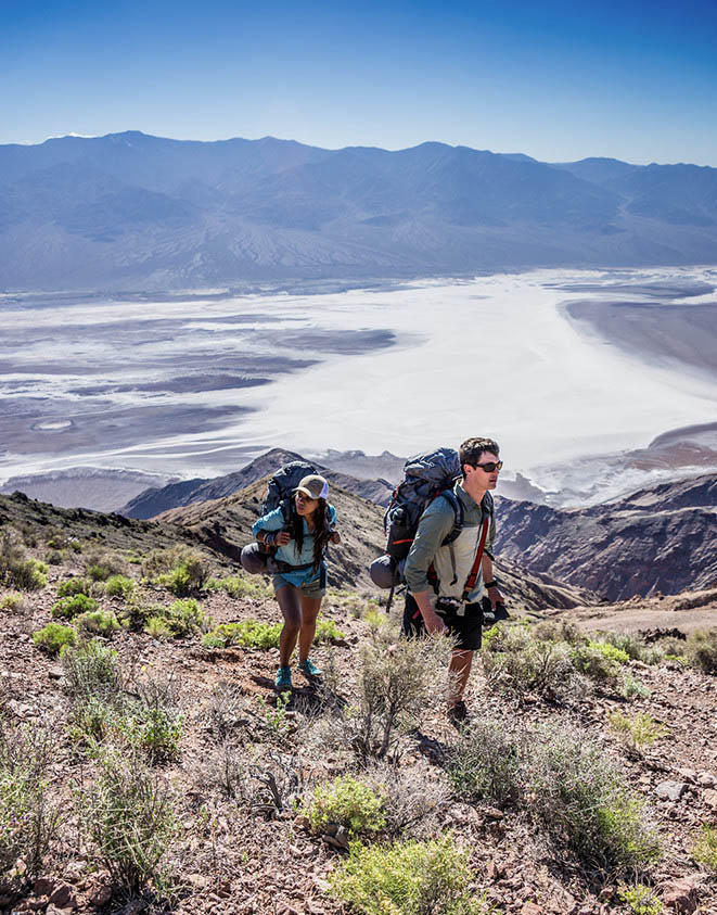 Faith and Mark hiking up to Dante's View overlooking Death Valley.