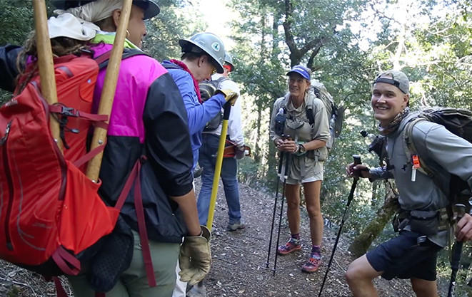 "[Video] Faith and volunteers chat with PCT thru-hikers ""Mama Bear"" and ""Patchy."""