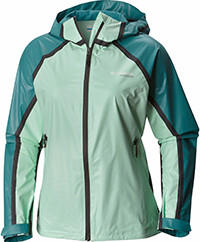 Women's OutDry Ex Gold Tech Shell Jacket in light and dark green.