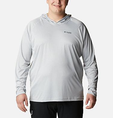 Men's PFG Terminal Tackle™ Hoodie - Big Terminal Tackle™ Hoodie | 470 | 1X, Cool Grey, Vivid Blue Logo, front