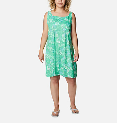 Women's PFG Freezer™ III Dress - Plus Size Freezer™ III Dress | 658 | 1X, Emerald City Archive Palms Print, front
