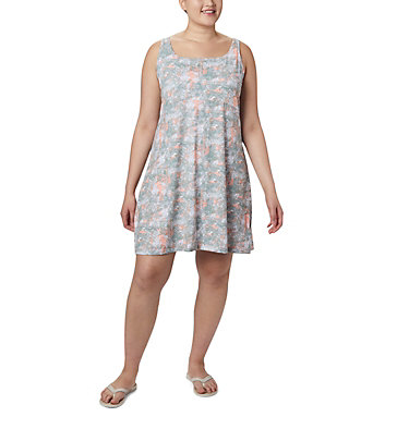 Women's PFG Freezer™ III Dress - Plus Size Freezer™ III Dress | 658 | 1X, Tiki Pink Waterbrush Print, front