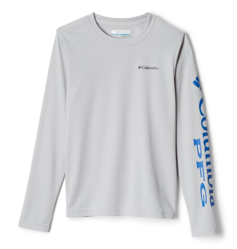 Terminal Tackle™ Long Sleeve Tee | 019 | S Kids' PFG Terminal Tackle™ Long Sleeve Tee, Cool Grey, Vivid Blue, front