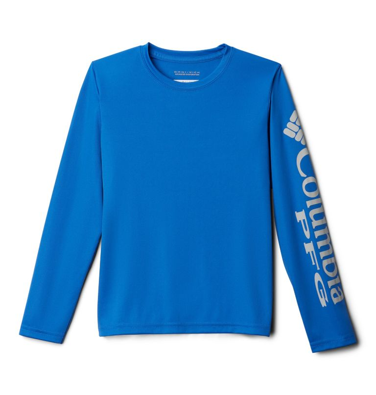 Terminal Tackle™ Long Sleeve Tee | 488 | XS Kids' PFG Terminal Tackle™ Long Sleeve Tee, Vivid Blue, Cool Grey, front