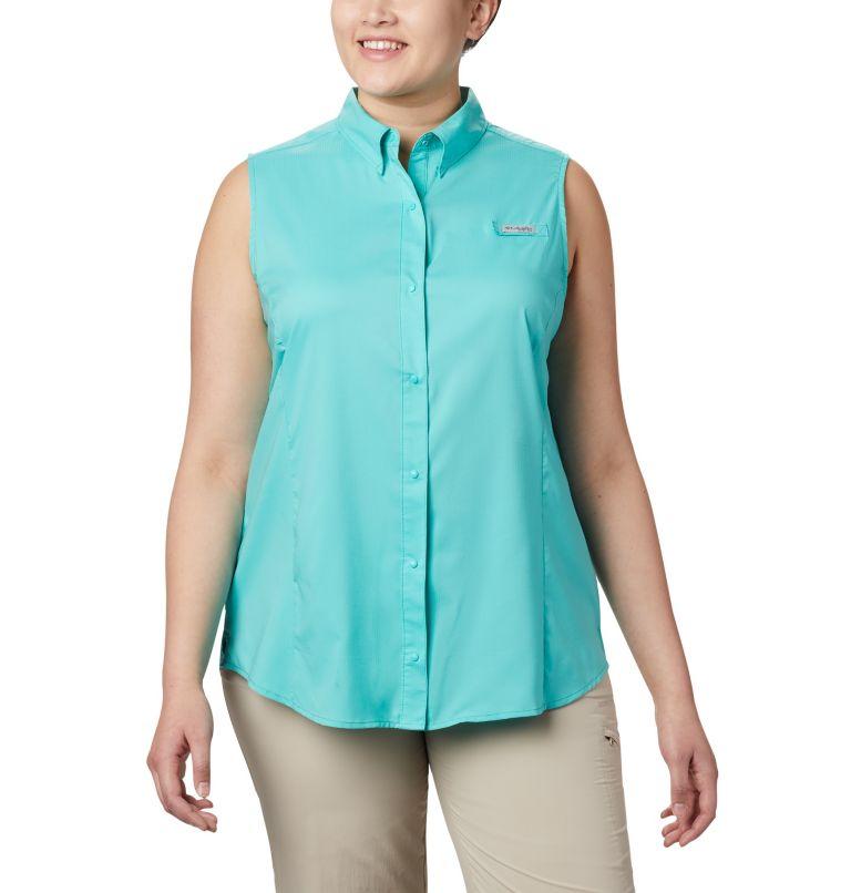 Tamiami™ Women's Sleeveless Shirt | 356 | 1X Women's PFG Tamiami™ Sleeveless Shirt - Plus Size, Dolphin, front