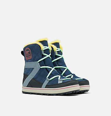 Women's Glacy Explorer™ Shortie Boot GLACY™ EXPLORER SHORTIE | 054 | 10, Collegiate Navy, 3/4 front