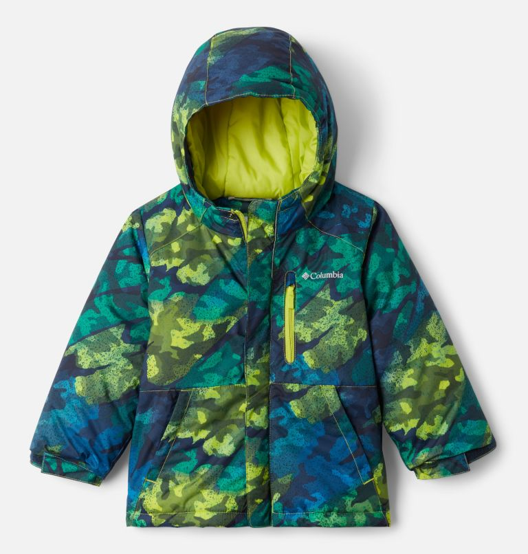 Lightning Lift™ Jacket | 386 | 3T Boys' Toddler Lightning Lift™ Jacket, Bright Chartreuse Brushed Camo Print, front