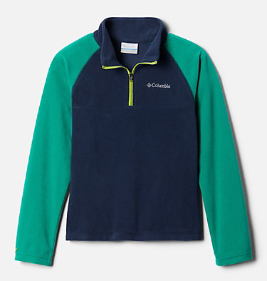 Boys' Glacial™ Fleece Half Zip Jacket Glacial™ Half Zip | 023 | XS, Collegiate Navy, Emerald Green, front