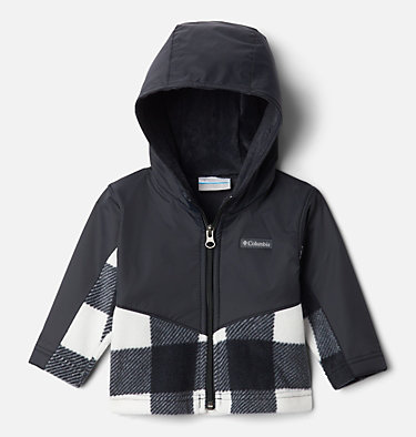 Kids' Infant Steens Mountain™ Overlay Hooded Jacket Steens Mt™ Overlay Hoodie | 673 | 18/24, Black Check (B) Print, Black, front