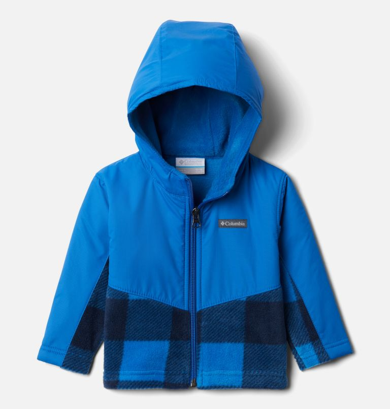 Steens Mt™ Overlay Hoodie | 433 | 6/12 Kids' Infant Steens Mountain™ Overlay Hooded Jacket, Bright Indigo Check(B) Print, Brt Indigo, front