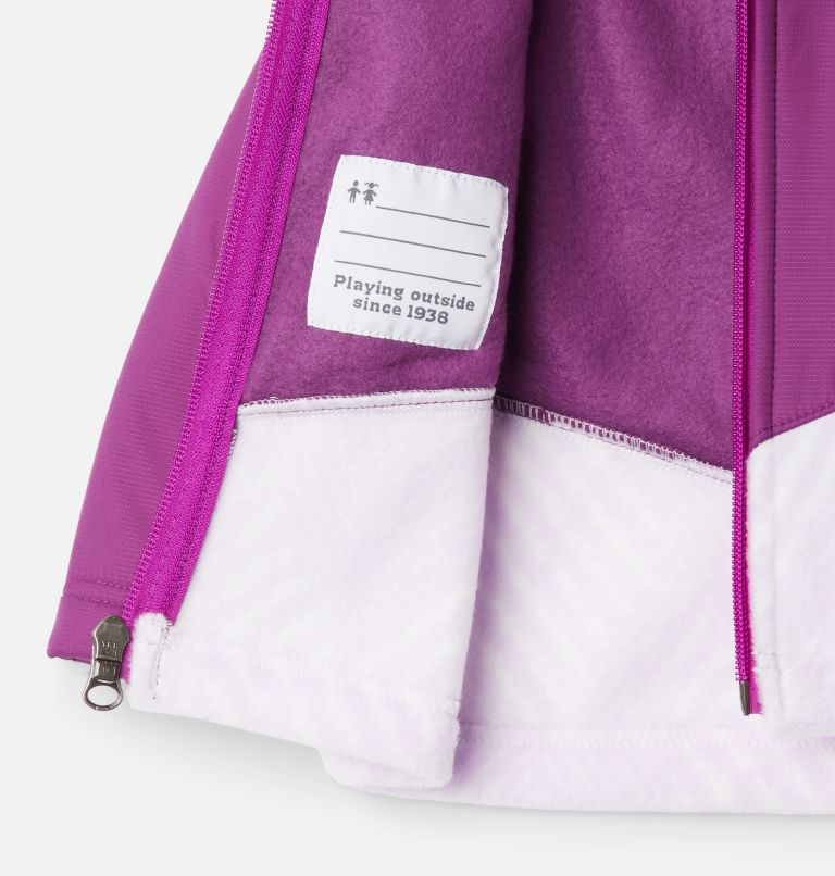 Steens Mt™ Overlay Hoodie | 584 | 3/6 Kids' Infant Steens Mountain™ Overlay Hooded Jacket, Pale Lilac Chevron Print, Plum, a1