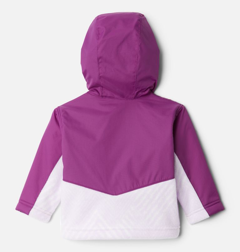 Steens Mt™ Overlay Hoodie | 584 | 3/6 Kids' Infant Steens Mountain™ Overlay Hooded Jacket, Pale Lilac Chevron Print, Plum, back