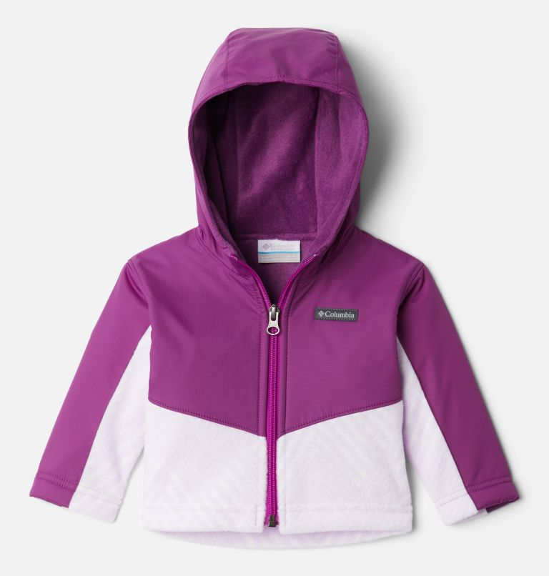 Steens Mt™ Overlay Hoodie | 584 | 3/6 Kids' Infant Steens Mountain™ Overlay Hooded Jacket, Pale Lilac Chevron Print, Plum, front