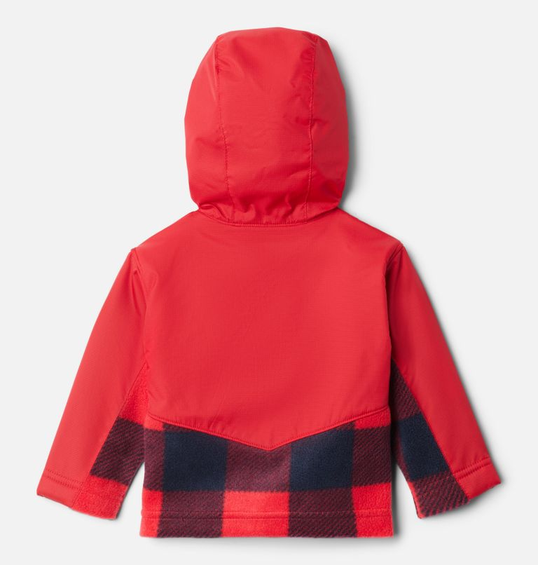 Steens Mt™ Overlay Hoodie | 617 | 6/12 Kids' Infant Steens Mountain™ Overlay Hooded Jacket, Mtn Red Check (B) Print, Mtn Red, back