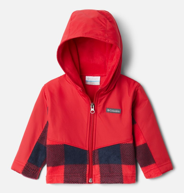 Steens Mt™ Overlay Hoodie | 617 | 6/12 Kids' Infant Steens Mountain™ Overlay Hooded Jacket, Mtn Red Check (B) Print, Mtn Red, front