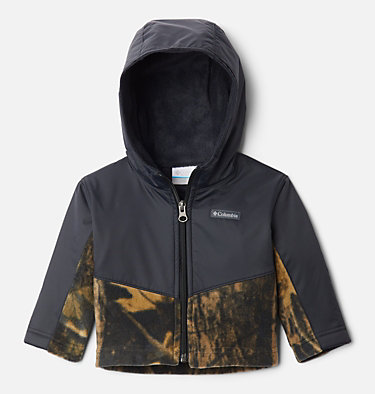 Kids' Infant Steens Mountain™ Overlay Hooded Jacket Steens Mt™ Overlay Hoodie | 673 | 18/24, Timberwolf Print, Black, front