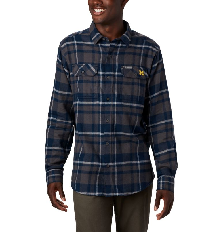 Men's Collegiate Flare Gun™ Flannel Long Sleeve Shirt - Michigan Men's Collegiate Flare Gun™ Flannel Long Sleeve Shirt - Michigan, front
