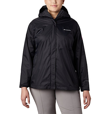 Women's Tested Tough in Pink™ Rain Jacket II - Plus Size Tested Tough in Pink™ Rain Jacket II | 011 | 1X, Black, front
