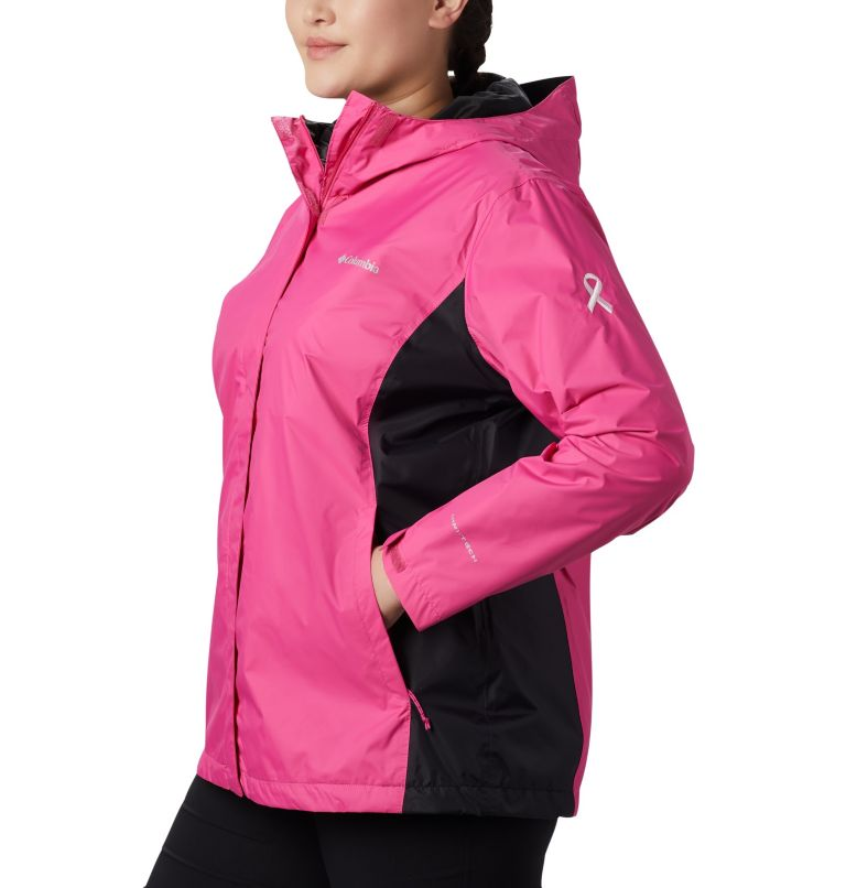 Tested Tough in Pink™ Rain Jacket II | 696 | 1X Women's Tested Tough in Pink™ Rain Jacket II - Plus Size, Pink Ice, Black, a1