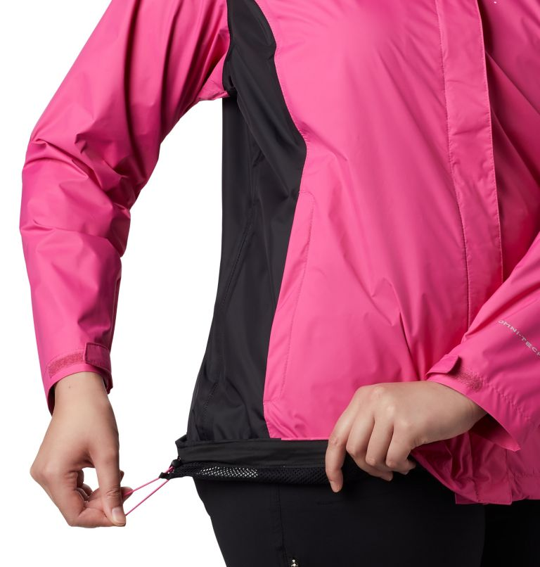 Tested Tough in Pink™ Rain Jacket II | 696 | 1X Women's Tested Tough in Pink™ Rain Jacket II - Plus Size, Pink Ice, Black, a2