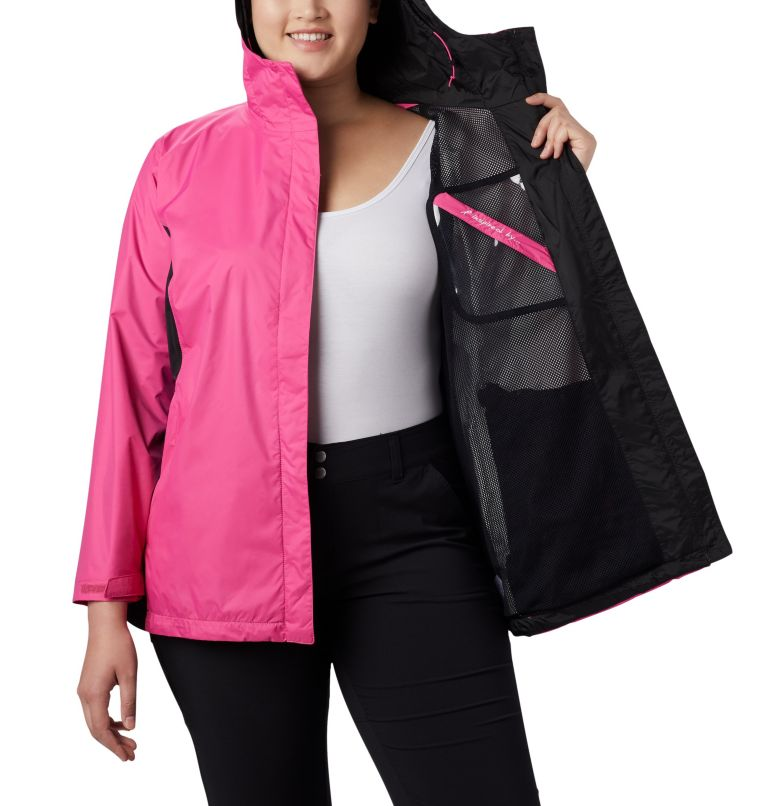 Tested Tough in Pink™ Rain Jacket II | 696 | 1X Women's Tested Tough in Pink™ Rain Jacket II - Plus Size, Pink Ice, Black, a3