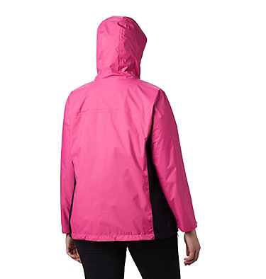 Women's Tested Tough in Pink™ Rain Jacket II - Plus Size Tested Tough in Pink™ Rain Jacket II | 011 | 1X, Pink Ice, Black, back