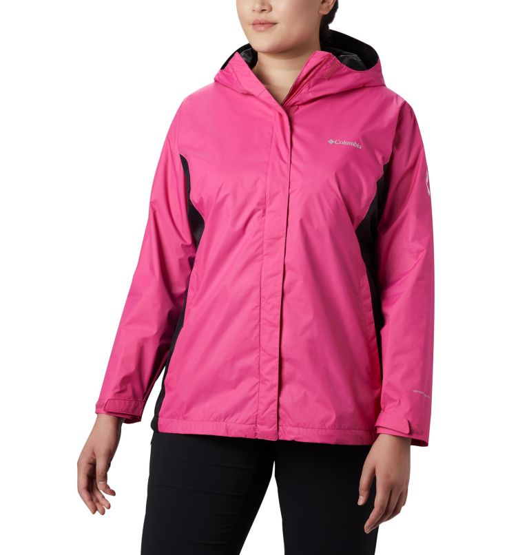 Tested Tough in Pink™ Rain Jacket II | 696 | 1X Women's Tested Tough in Pink™ Rain Jacket II - Plus Size, Pink Ice, Black, front