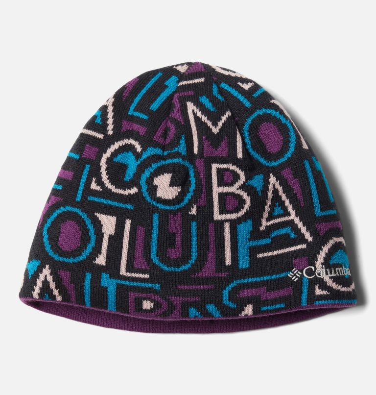 Toddler/Youth Urbanization Mix™ Beanie | 021 | L/XL Kids' Urbanization Mix Reversible Beanie, Black G Multi Typo Print, Plum, front