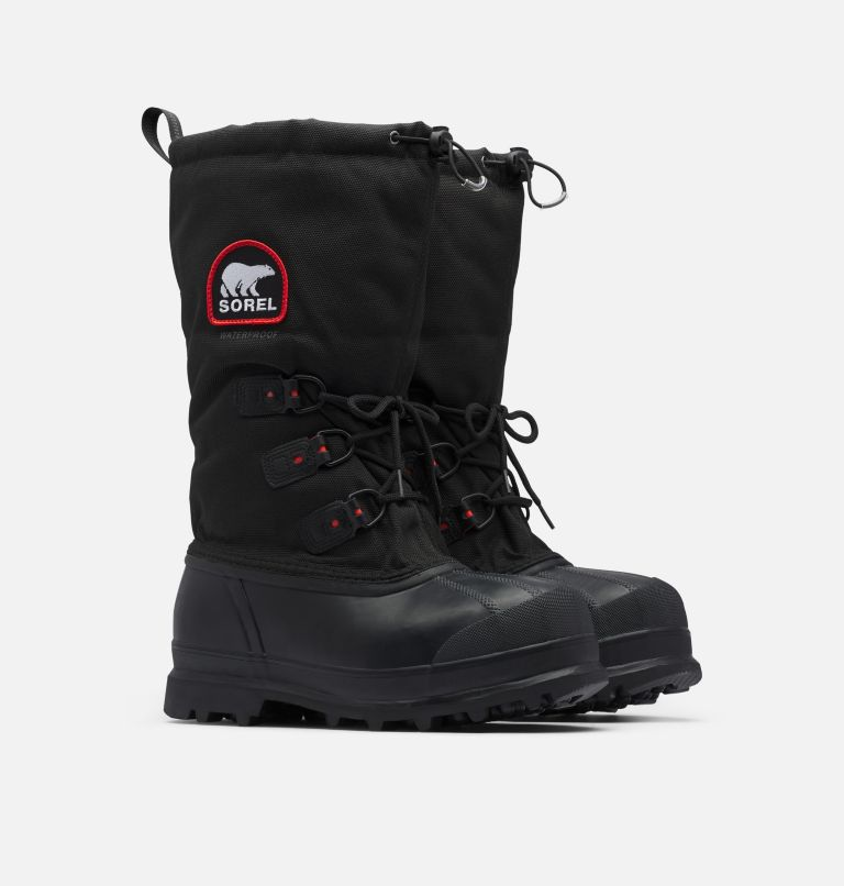 GLACIER™ XT | 010 | 13 Men's Glacier™ XT Waterproof Exploration Boot, Black, Red Quartz, 3/4 front