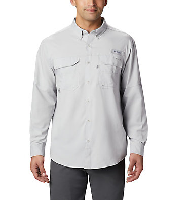 Men's PFG Blood and Guts™ III Long Sleeve Woven Shirt - Big Blood and Guts™ III LS Woven Shirt | 967 | 5X, Cool Grey, front