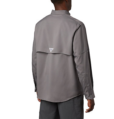 Men's PFG Blood and Guts™ III Long Sleeve Woven Shirt - Big Blood and Guts™ III LS Woven Shirt | 967 | 5X, City Grey, back
