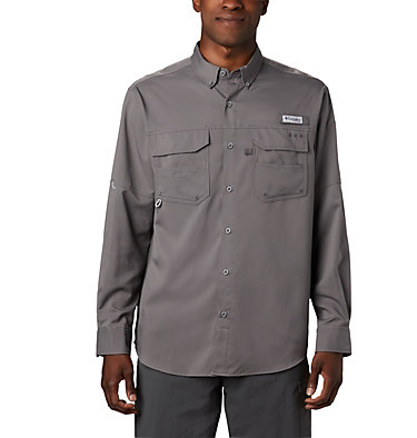 Men's PFG Blood and Guts™ III Long Sleeve Woven Shirt - Big Blood and Guts™ III LS Woven Shirt | 967 | 5X, City Grey, front