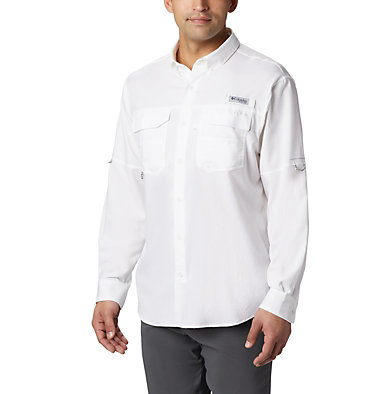 Men's PFG Blood and Guts™ III Long Sleeve Woven Shirt - Big Blood and Guts™ III LS Woven Shirt | 967 | 5X, White, front