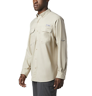 Men's PFG Blood and Guts™ III Long Sleeve Woven Shirt - Big Blood and Guts™ III LS Woven Shirt | 967 | 5X, Fossil, front