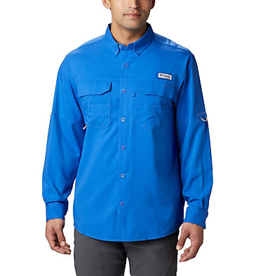 Men's PFG Blood and Guts™ III Long Sleeve Woven Shirt - Big Blood and Guts™ III LS Woven Shirt | 967 | 5X, Vivid Blue, front