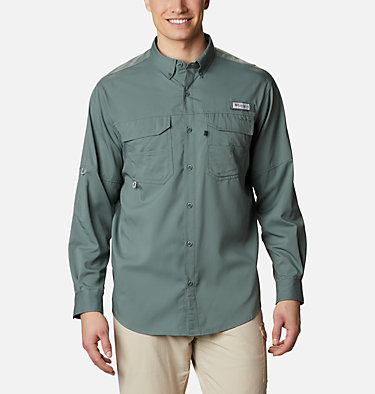 Men's PFG Blood and Guts™ III Long Sleeve Woven Shirt - Big Blood and Guts™ III LS Woven Shirt | 967 | 5X, Pond, front