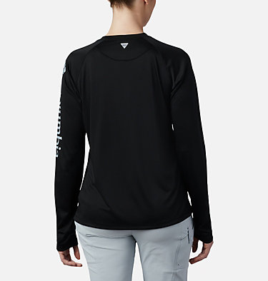 Women's PFG Tidal Tee™ II Long Sleeve Shirt Tidal Tee™ II Long Sleeve | 759 | S, Black, Cirrus Grey Logo, back