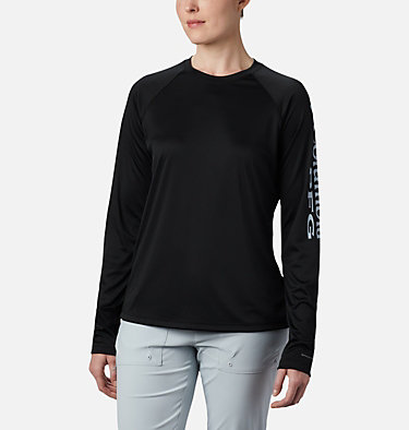 Women's PFG Tidal Tee™ II Long Sleeve Shirt Tidal Tee™ II Long Sleeve | 759 | S, Black, Cirrus Grey Logo, front