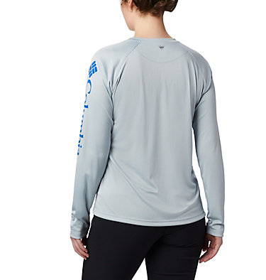 Women's PFG Tidal Tee™ II Long Sleeve Shirt Tidal Tee™ II Long Sleeve | 759 | S, Cirrus Grey, Vivid Blue Logo, back