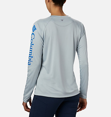Women's PFG Tidal Tee™ II Long Sleeve Shirt Tidal Tee™ II Long Sleeve | 759 | S, Cirrus Grey, Stormy Blue Logo, back