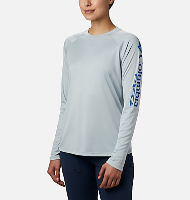 Women's PFG Tidal Tee™ II Long Sleeve Shirt Tidal Tee™ II Long Sleeve | 759 | XS, Cirrus Grey, Stormy Blue Logo, front