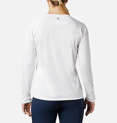 Women's PFG Tidal Tee™ II Long Sleeve Shirt Tidal Tee™ II Long Sleeve | 759 | S, White, Cirrus Grey Logo, back