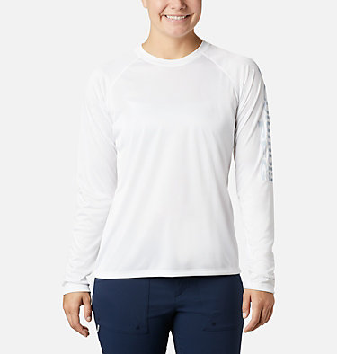 Women's PFG Tidal Tee™ II Long Sleeve Shirt Tidal Tee™ II Long Sleeve | 759 | S, White, Cirrus Grey Logo, front