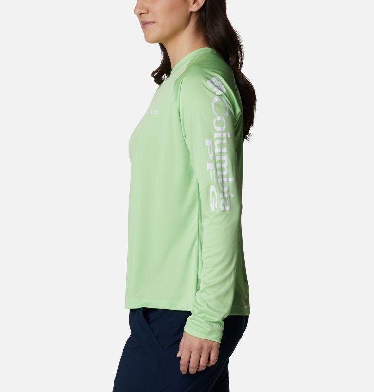 Tidal Tee™ II Long Sleeve | 398 | XL Women's PFG Tidal Tee™ II Long Sleeve Shirt, Lime Glow, White Logo, a1