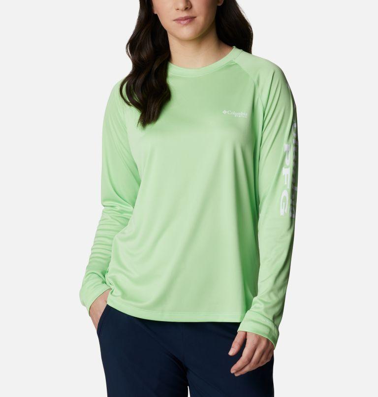 Tidal Tee™ II Long Sleeve | 398 | XL Women's PFG Tidal Tee™ II Long Sleeve Shirt, Lime Glow, White Logo, front