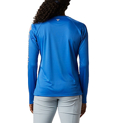 Women's PFG Tidal Tee™ II Long Sleeve Shirt Tidal Tee™ II Long Sleeve | 759 | S, Stormy Blue, Light Coral Logo, back