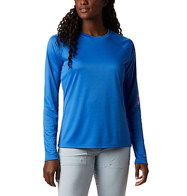 Women's PFG Tidal Tee™ II Long Sleeve Shirt Tidal Tee™ II Long Sleeve | 759 | S, Stormy Blue, Light Coral Logo, front