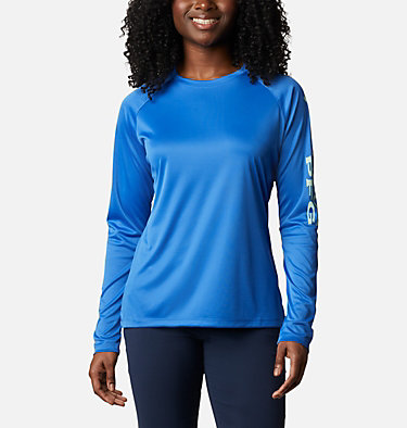 Women's PFG Tidal Tee™ II Long Sleeve Shirt Tidal Tee™ II Long Sleeve | 759 | S, Stormy Blue, Light Mint Logo, front